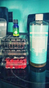 dr bronner's castile soap and essential oils for cleaning produce